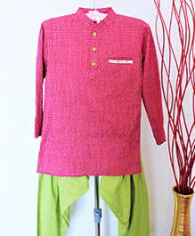Pre Order - Hickory Dickory Checkered Kurta With Contrast Buttons & Salwar - Pink & Lime Green
