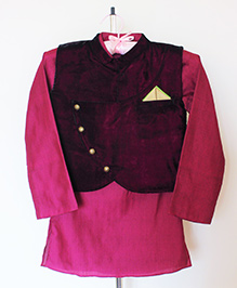 Pre Order - Hickory Dickory Asymmetric Overlap Jacket With Kurta & Churidaar - Pink & Off White