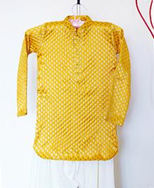 Pre Order - Hickory Dickory Brocade Pathani Kurta With Salwar - Yellow & White