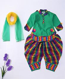 Aarika Cute Designer Kurti Patiala & Dupatta Set - Green & Multicolour