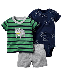 Pre Order : Lil Mantra Dog Print Stripped T-Shirt With Shorts & Romper Set - Green & Blue