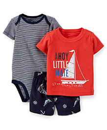 Pre Order - Lil Mantra Yacht Print T-Shirt With Shorts & Stripped Romper Set - Red & Black
