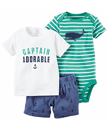 Pre Order - Lil Mantra Captain Print T-Shirt Shorts & Romper Set - White & Green