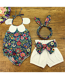 Pre Order - Lil Mantra Halter Neck Floral Print Onesie With Shorts & Headband - Blue