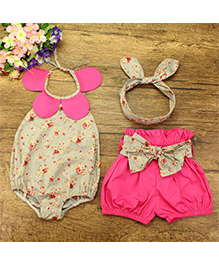 Pre Order - Lil Mantra Halter Neck Floral Print Onesie With Shorts & Headband - White & Pink