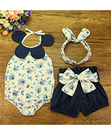 Pre Order - Lil Mantra Halter Neck Floral Print Onesie With Shorts & Headband - White & Navy
