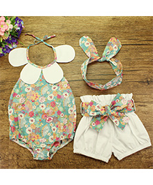 Pre Order - Lil Mantra Petal Applique Floral Print Onesie With Shorts & Headband - Light Blue