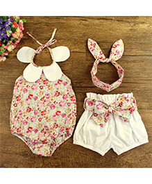 Pre Order - Lil Mantra Petal Applique Floral Print Onesie With Shorts & Headband - Peach & White