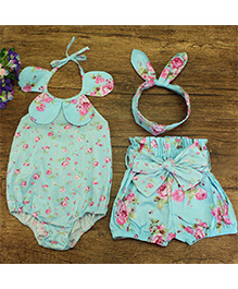 Pre Order - Lil Mantra Halter Neck Petal Applique Floral Print Onesie With Shorts & Headband - Sky Blue