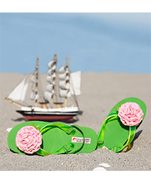 D'chica  Rose Design Applique Pretty Flip Flops - Green