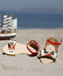 D'chica  Bow Applique Strap Blingy Sandals - Red & Beige