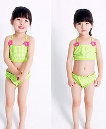 Milonee Checkered Two Piece Swimwear Set - Green