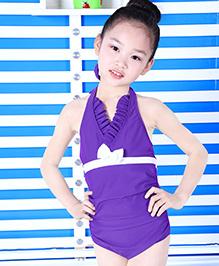 Milonee One Piece Halter Neckline Swimwear  - Purple