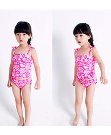 Milonee Floral Printed Two Piece Swimwear - Pink