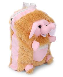 IR School Bag Fur Elephant - Pink and Brown