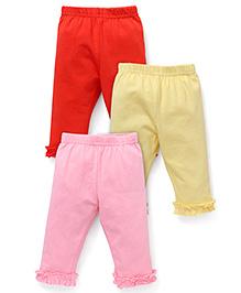 Zero Full Length Leggings Pack of 3 - Orange Yellow Pink