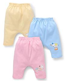 Zero Diaper Leggings With Print Set Of 3 - Yellow Blue Pink