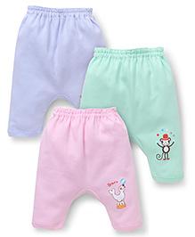 Zero Diaper Leggings With Print Set Of 3 - Green Sky Blue Pink