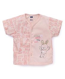 Simply Half Sleeves Front Open Vest Rabbit Print - Light Peach