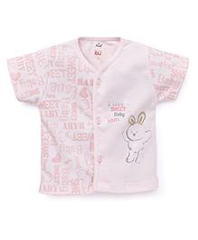 Simply Half Sleeves Front Open Vest Rabbit Print - Light Pink