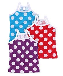 Simply Singlet Slips Polka Dots Pack Of 3 - Blue Red Purple