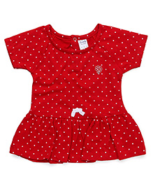 Simply Half Sleeves Frock All Over Dots Print - Red
