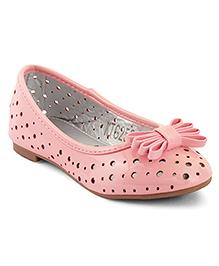Kittens Shoes Cut-work Design Ballerinas Bow Applique - Pink