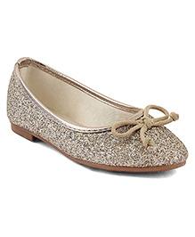 Kittens Glittery Ballerinas Bow Applique - Golden