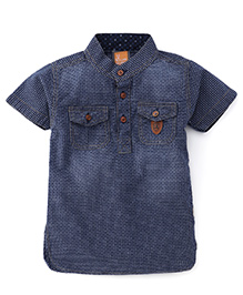Little Kangaroos Half Sleeves Shirt Checks Print - Deep Blue