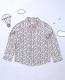 Hugsntugs Printed Collar Shirt - White