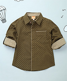 Hugsntugs Full Sleeves Dotted Shirt - Olive Green