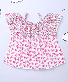 Hugsntugs Elegant Floral Tops For Girls - Pink & White