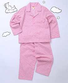 Hugsntugs Collar Nightsuit Set - Pink & White