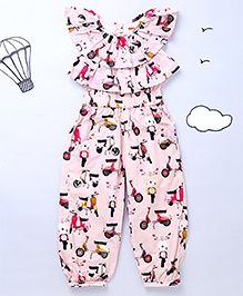Hugsntugs Flutter Sleeves Full Length Jumpsuit Printed - Pink