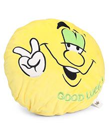 Starwalk Good Luck Face Plush Cushion Yellow - 35 Cm