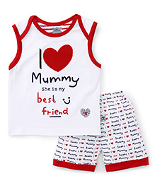 Mini Taurus Sleeveless T-Shirt & Shorts I Love Mummy Print - Red White