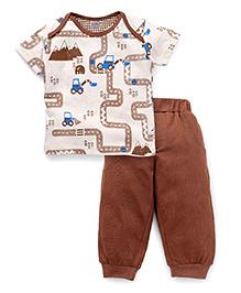 Mini Taurus Half Sleeves Printed T-Shirt And Bottoms - Cream Brown