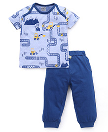 Mini Taurus Half Sleeves Printed T-Shirt And Bottoms - Light & Dark Blue