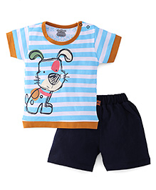 Mini Taurus Half Sleeves Striped T-Shirt With Print And Shorts - Firozi Blue