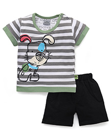 Mini Taurus Half Sleeves Striped T-Shirt With Print And Shorts - Grey