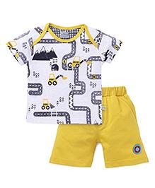 Mini Taurus Half Sleeves T-Shirt & Shorts - Mustard Yellow & White