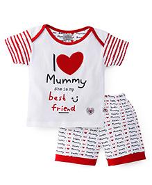 Mini Taurus Half Sleeves Suits I Love Mummy Print - White Red