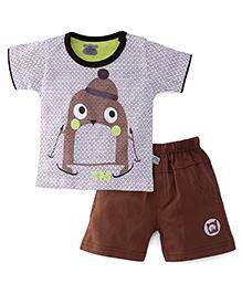 Mini Taurus Half Sleeves T-Shirt And Shorts Printed - Brown