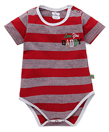 Mini Taurus Striped Onesies With Love You Daddy Embroidery - Maroon