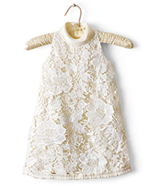 Nitallys Jewel Neck A-Line Lace Dress - Off White