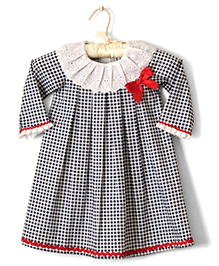 Nitallys Lace Border Collared Gingham Knife Pleat Dress - Black & White