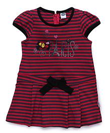 Teddy Cap Sleeves Stripe Frock Bow Applique - Dark Pink Black