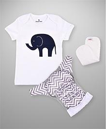 BumChum Diaper Cover With Waterproof Insert And T-Shirt Jumbo - White