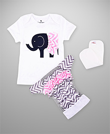 BumChum Diaper Cover With Waterproof Insert And T-Shirt Elsie - White & Pink