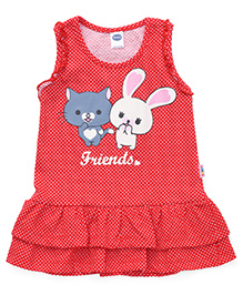Teddy Sleeveless Dotted Frock Friends Print - Red